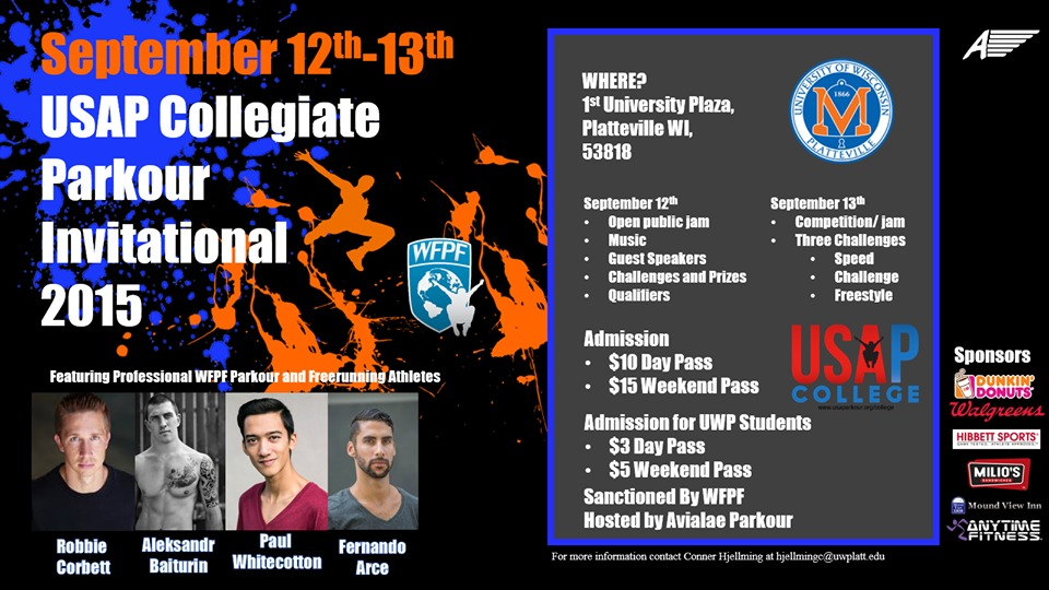 Flyer USAP College Invitational 1 World Freerunning Parkour Federation (WFPF) Sanctions First Ever USAP College Parkour Competition at University of Wisconsin, Platteville