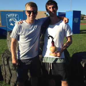 1st place winner Zach Kekac holds his trophy while USAP college Matt Milano proudly stands next to him.
